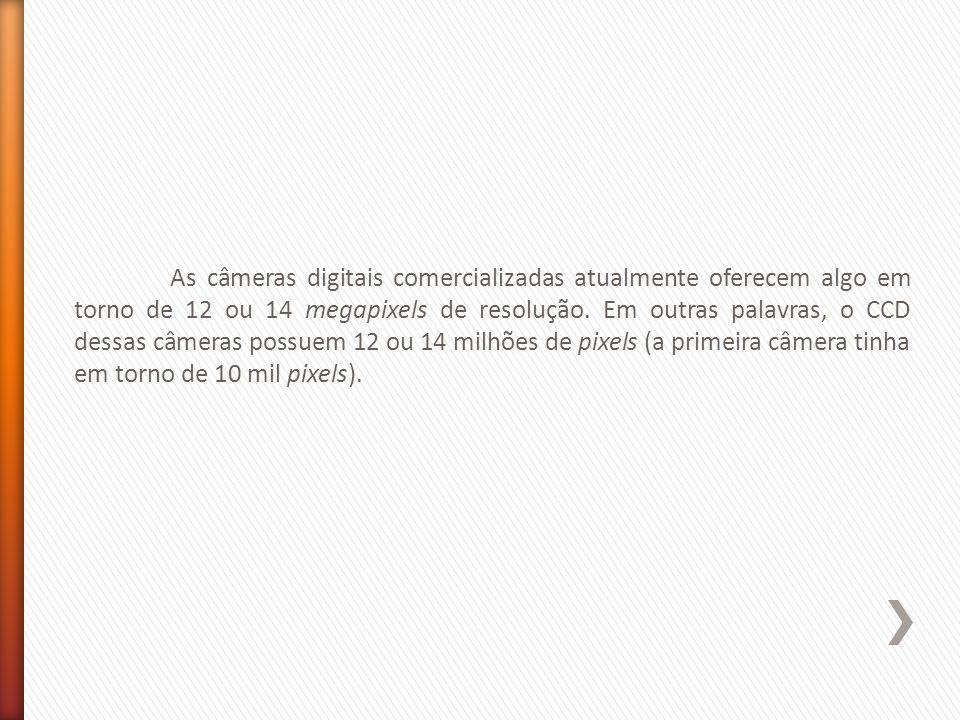 As câmeras digitais comercializadas atualmente oferecem algo em torno de 12 ou 14 megapixels de resolução.