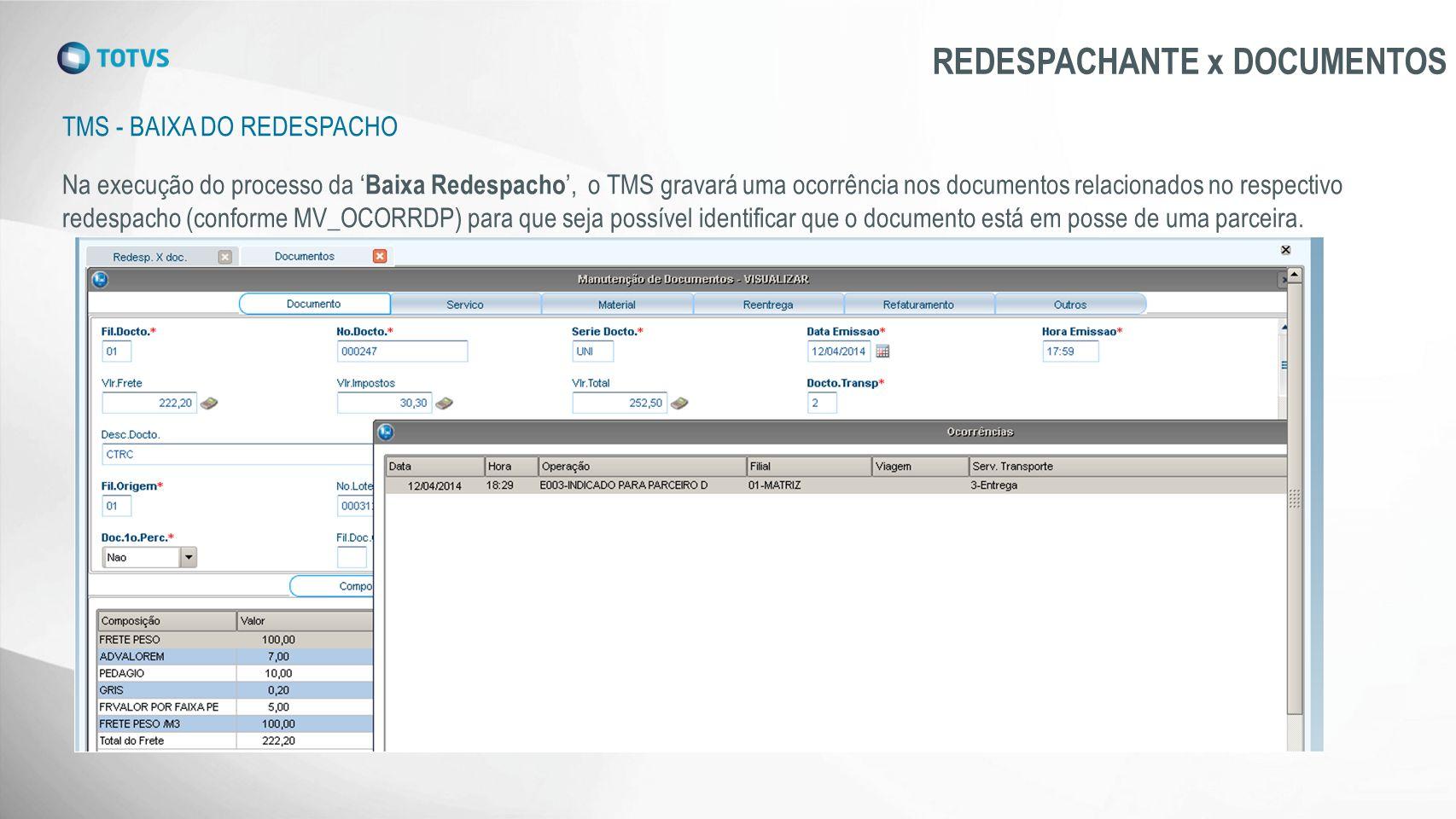 TMS - BAIXA DO REDESPACHO REDESPACHANTE x DOCUMENTOS Na execução do processo da ' Baixa Redespacho ', o TMS gravará uma ocorrência nos documentos rela