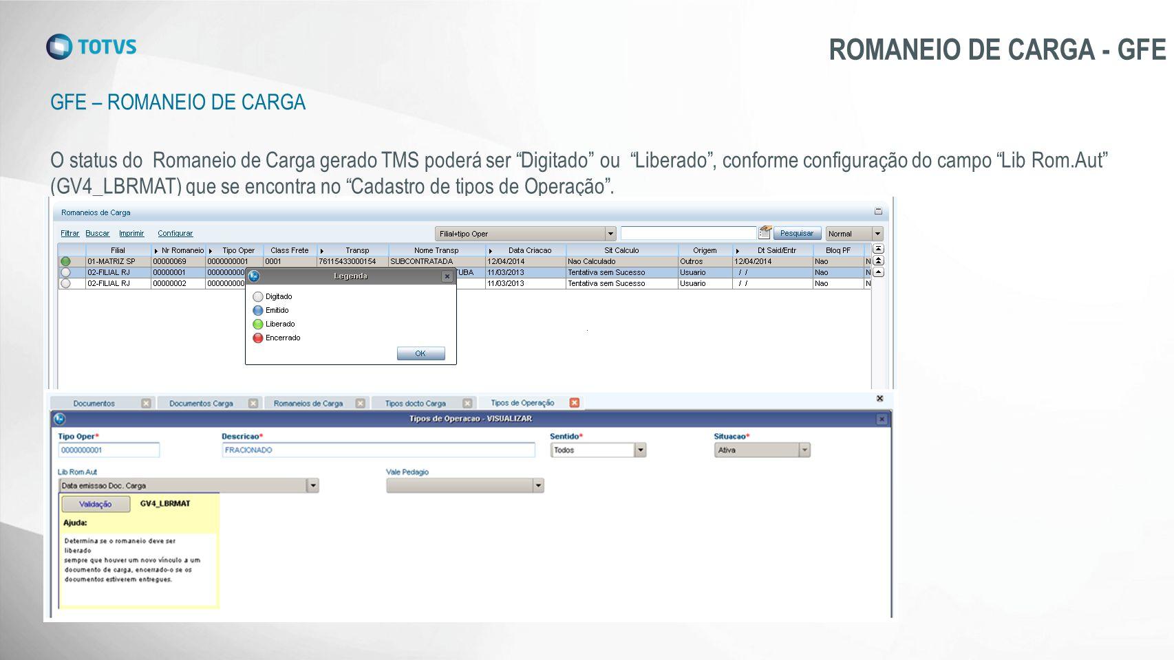 """GFE – ROMANEIO DE CARGA ROMANEIO DE CARGA - GFE O status do Romaneio de Carga gerado TMS poderá ser """"Digitado"""" ou """"Liberado"""", conforme configuração do"""