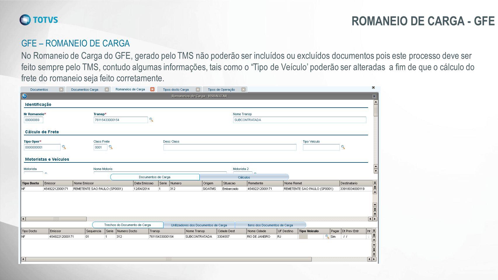 GFE – ROMANEIO DE CARGA ROMANEIO DE CARGA - GFE No Romaneio de Carga do GFE, gerado pelo TMS não poderão ser incluídos ou excluídos documentos pois es