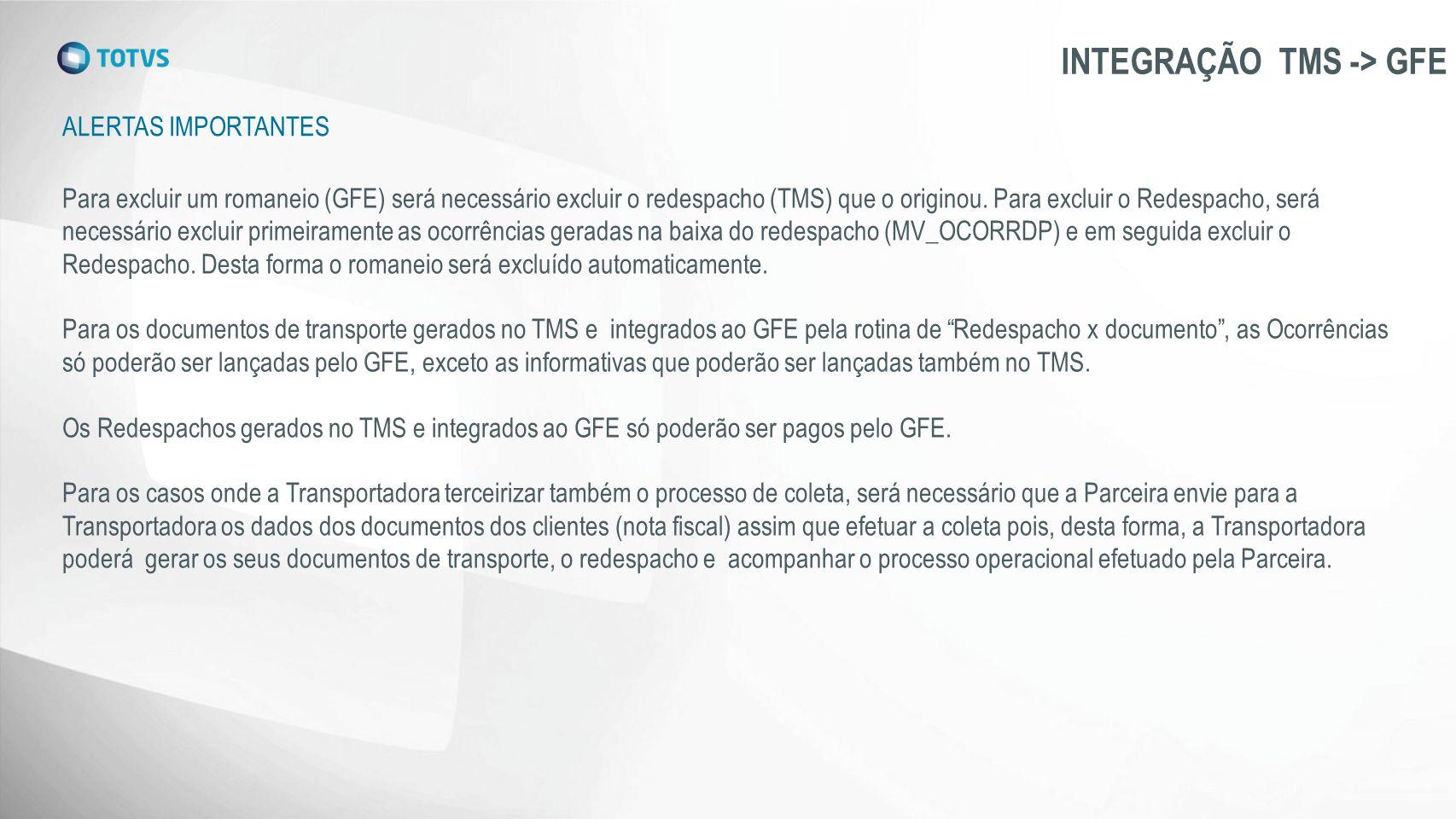 ALERTAS IMPORTANTES INTEGRAÇÃO TMS -> GFE Para excluir um romaneio (GFE) será necessário excluir o redespacho (TMS) que o originou. Para excluir o Red
