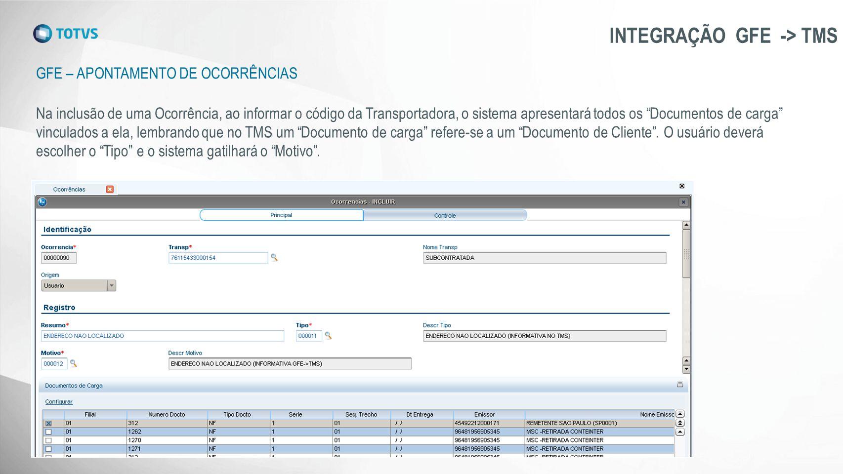 GFE – APONTAMENTO DE OCORRÊNCIAS INTEGRAÇÃO GFE -> TMS Na inclusão de uma Ocorrência, ao informar o código da Transportadora, o sistema apresentará to