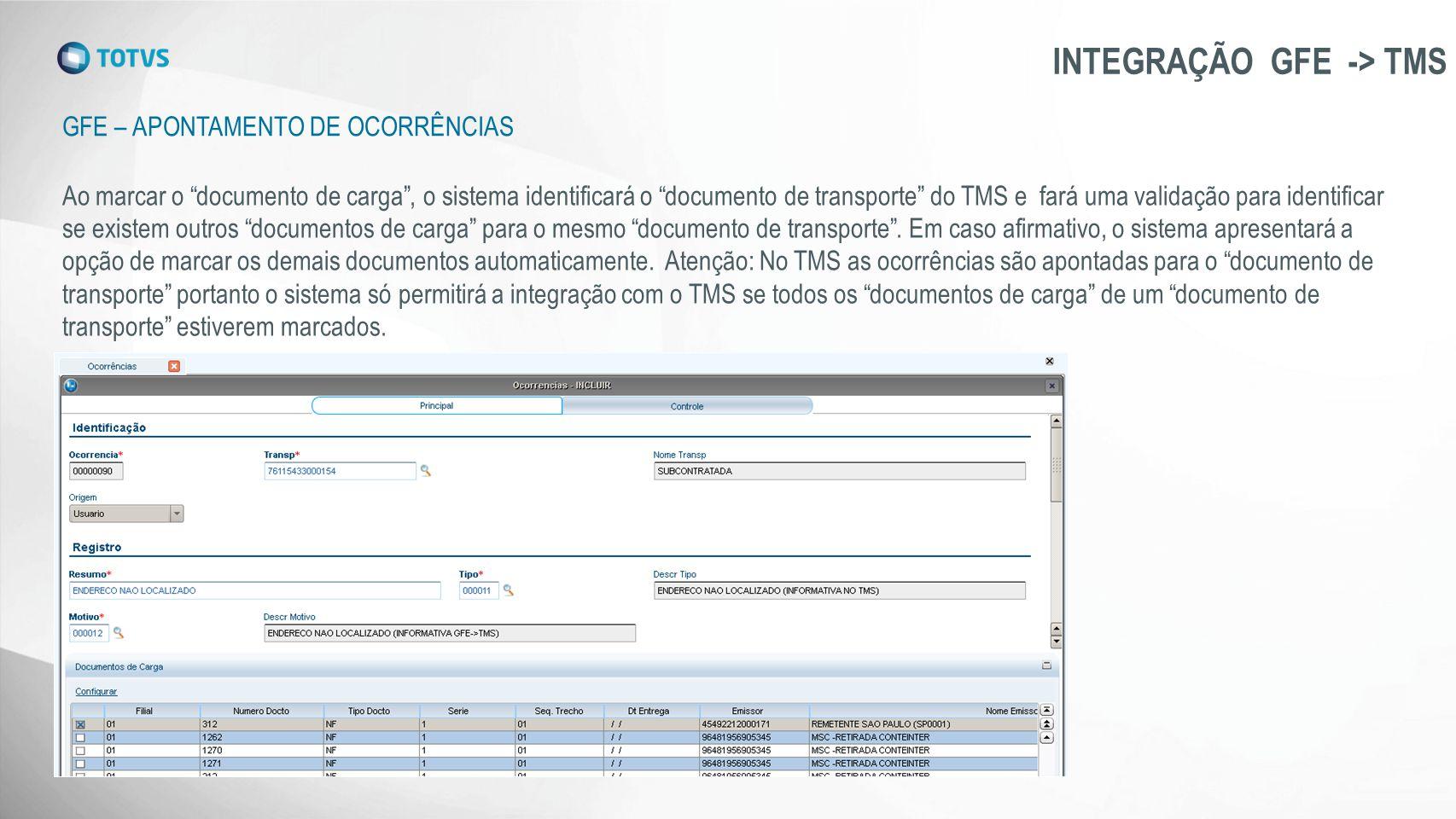 """GFE – APONTAMENTO DE OCORRÊNCIAS INTEGRAÇÃO GFE -> TMS Ao marcar o """"documento de carga"""", o sistema identificará o """"documento de transporte"""" do TMS e f"""