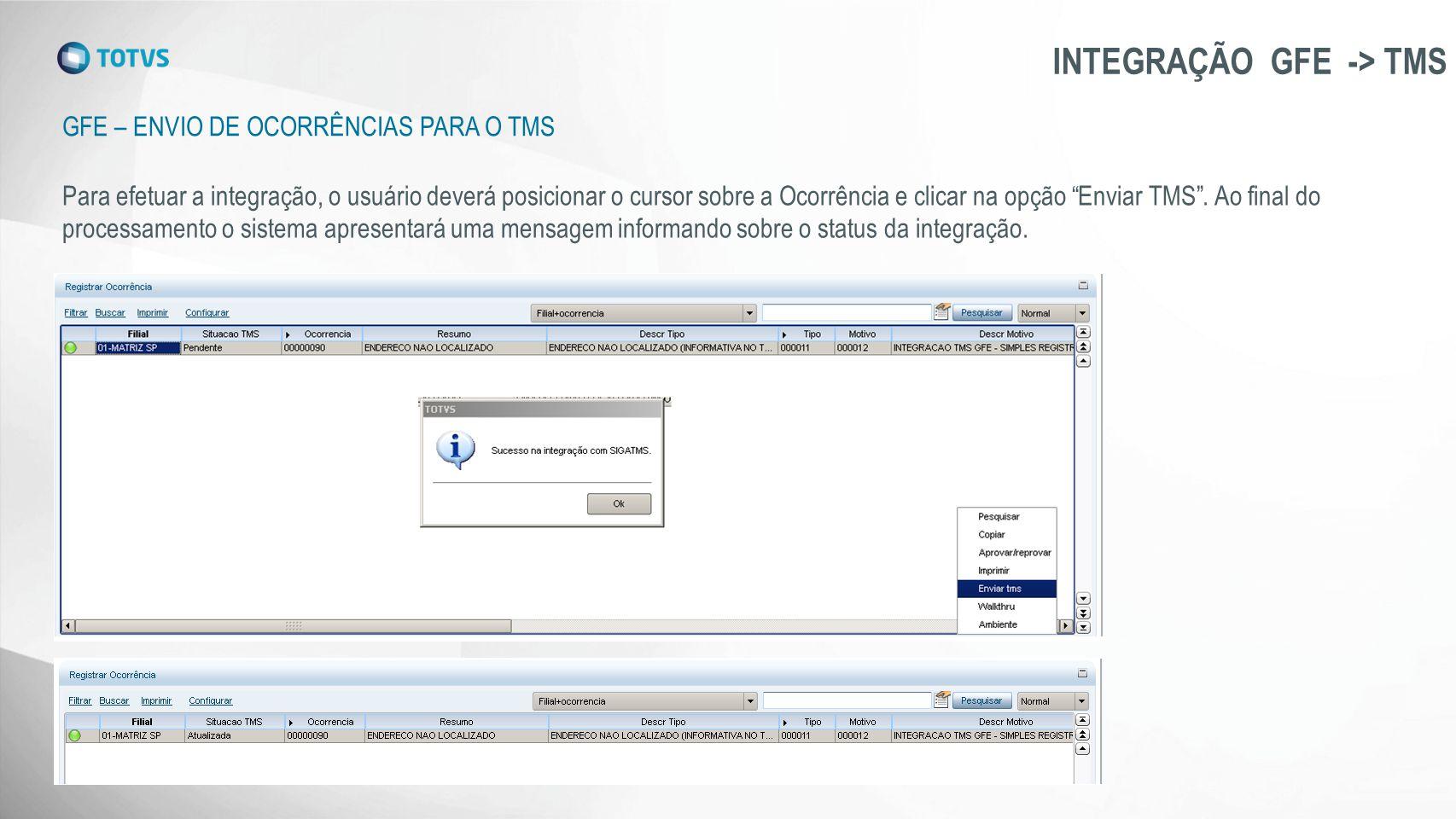 GFE – ENVIO DE OCORRÊNCIAS PARA O TMS INTEGRAÇÃO GFE -> TMS Para efetuar a integração, o usuário deverá posicionar o cursor sobre a Ocorrência e clica