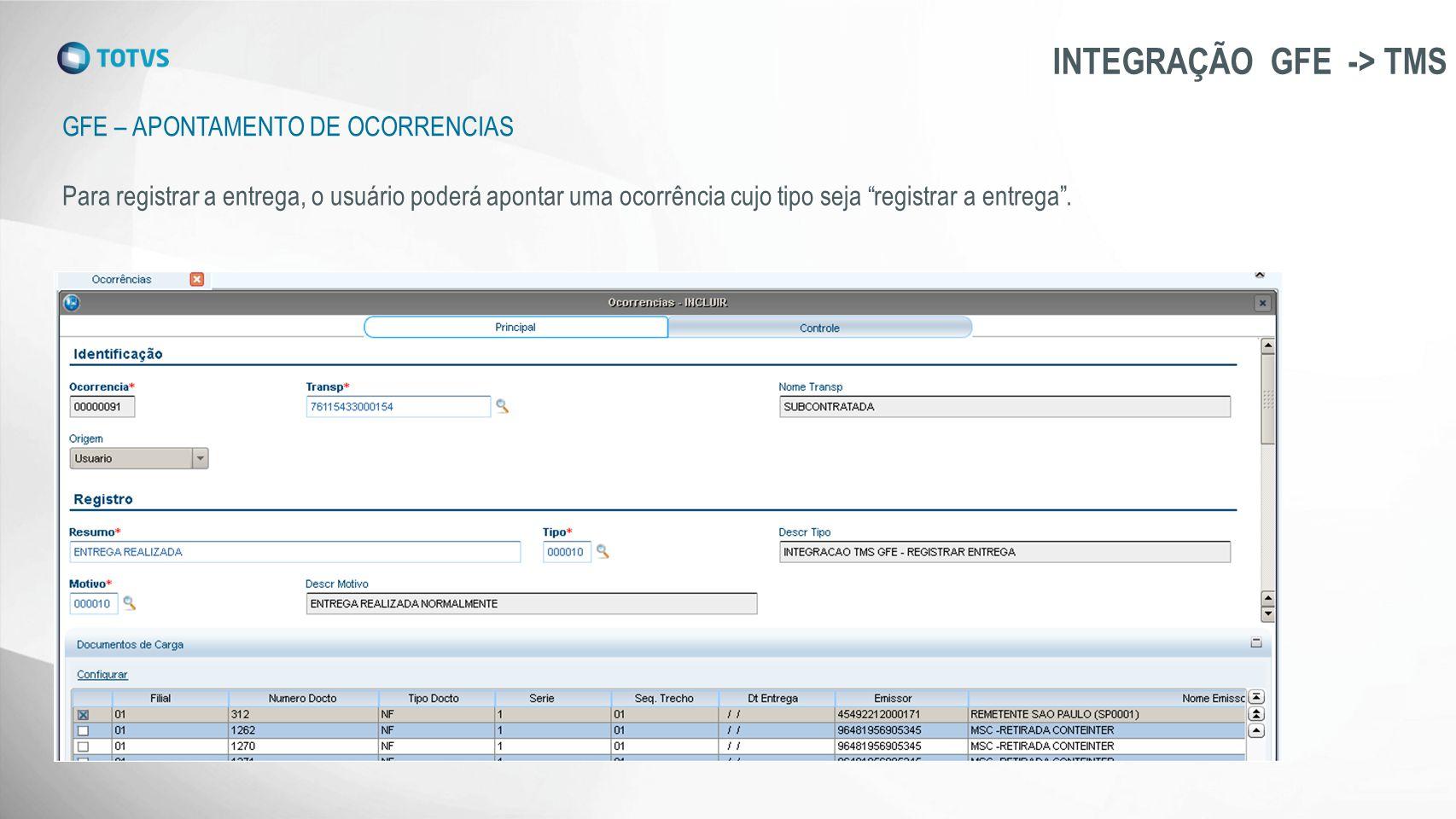 """GFE – APONTAMENTO DE OCORRENCIAS INTEGRAÇÃO GFE -> TMS Para registrar a entrega, o usuário poderá apontar uma ocorrência cujo tipo seja """"registrar a e"""