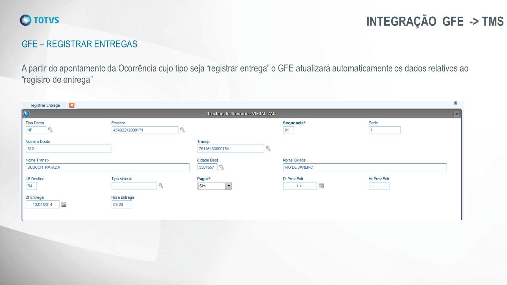 """GFE – REGISTRAR ENTREGAS INTEGRAÇÃO GFE -> TMS A partir do apontamento da Ocorrência cujo tipo seja """"registrar entrega"""" o GFE atualizará automaticamen"""