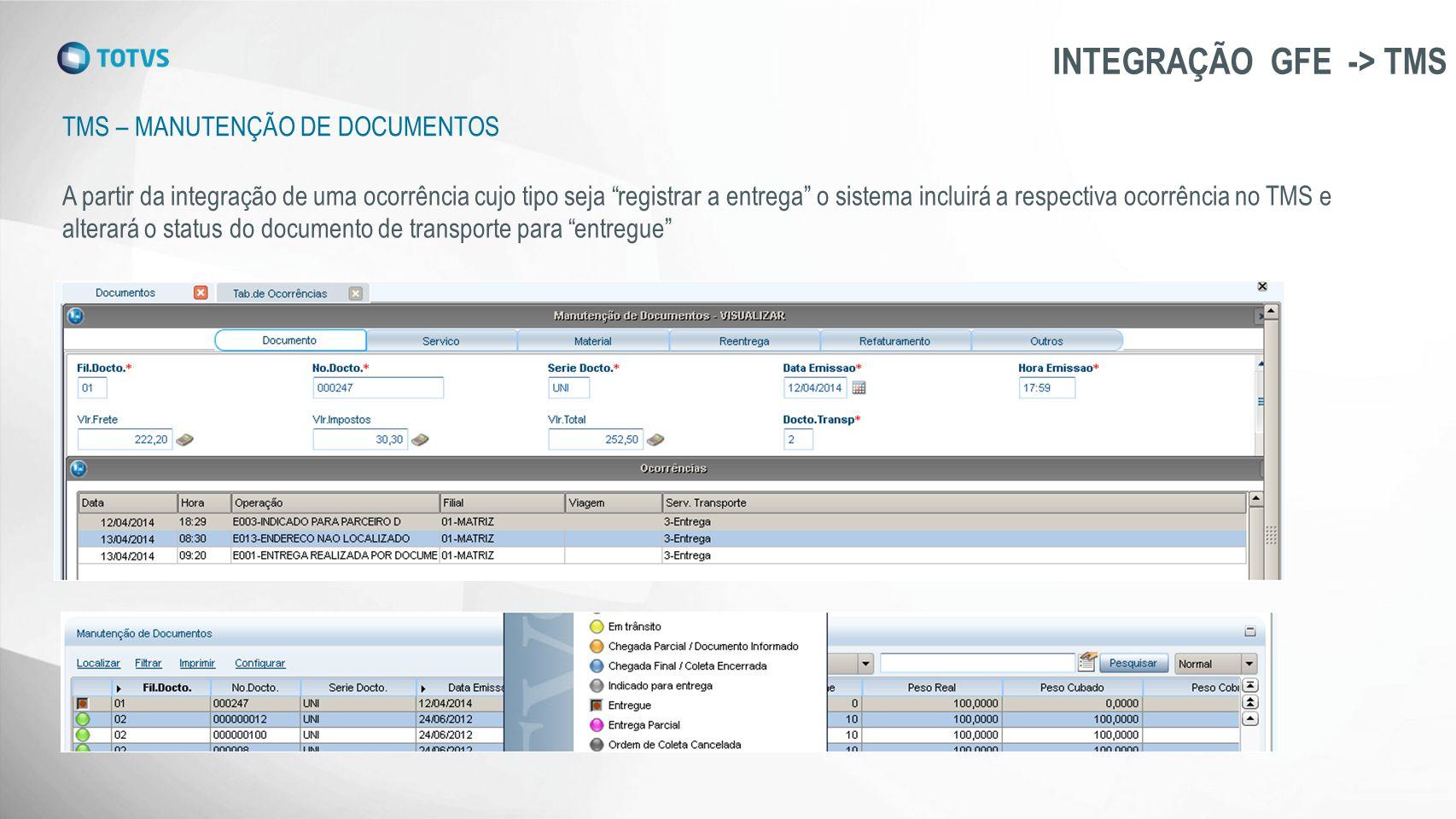 """TMS – MANUTENÇÃO DE DOCUMENTOS INTEGRAÇÃO GFE -> TMS A partir da integração de uma ocorrência cujo tipo seja """"registrar a entrega"""" o sistema incluirá"""