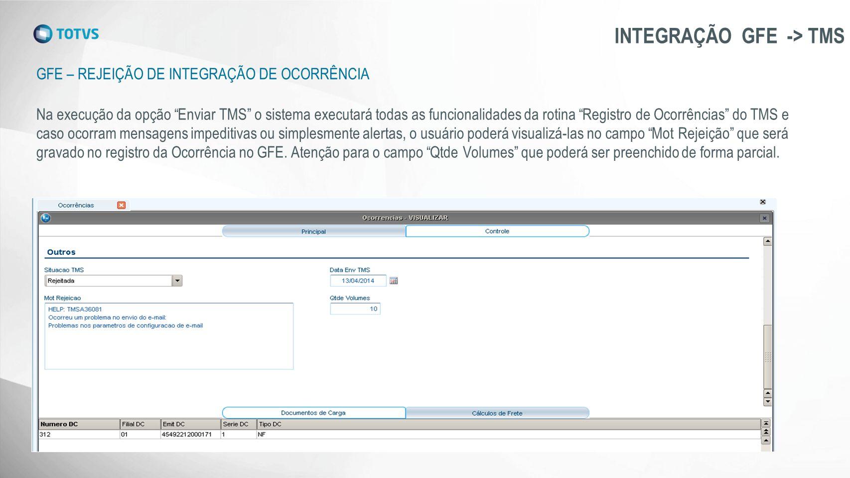 """GFE – REJEIÇÃO DE INTEGRAÇÃO DE OCORRÊNCIA INTEGRAÇÃO GFE -> TMS Na execução da opção """"Enviar TMS"""" o sistema executará todas as funcionalidades da rot"""