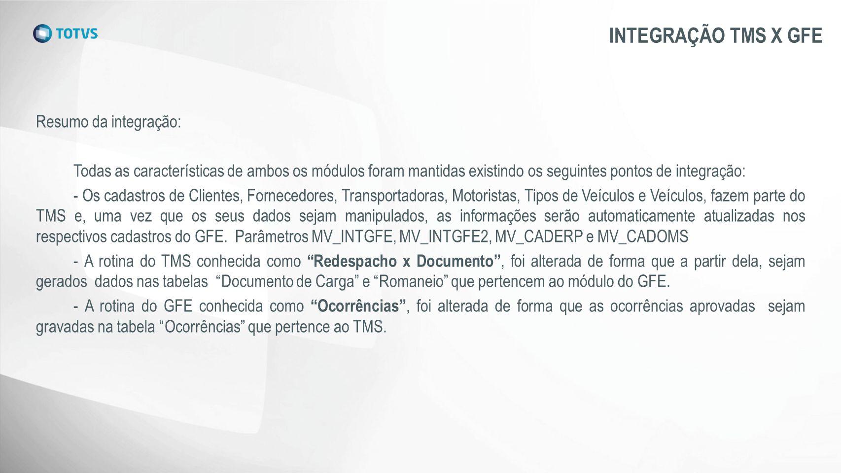 INTEGRAÇÃO TMS X GFE Resumo da integração: Todas as características de ambos os módulos foram mantidas existindo os seguintes pontos de integração: -