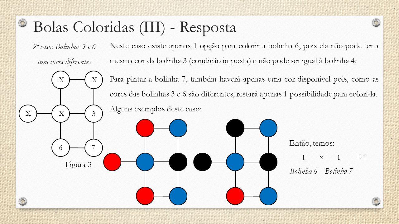 Bolas Coloridas (III) - Resposta 2º caso: Bolinhas 3 e 6 com cores diferentes Neste caso existe apenas 1 opção para colorir a bolinha 6, pois ela não pode ter a mesma cor da bolinha 3 (condição imposta) e não pode ser igual à bolinha 4.