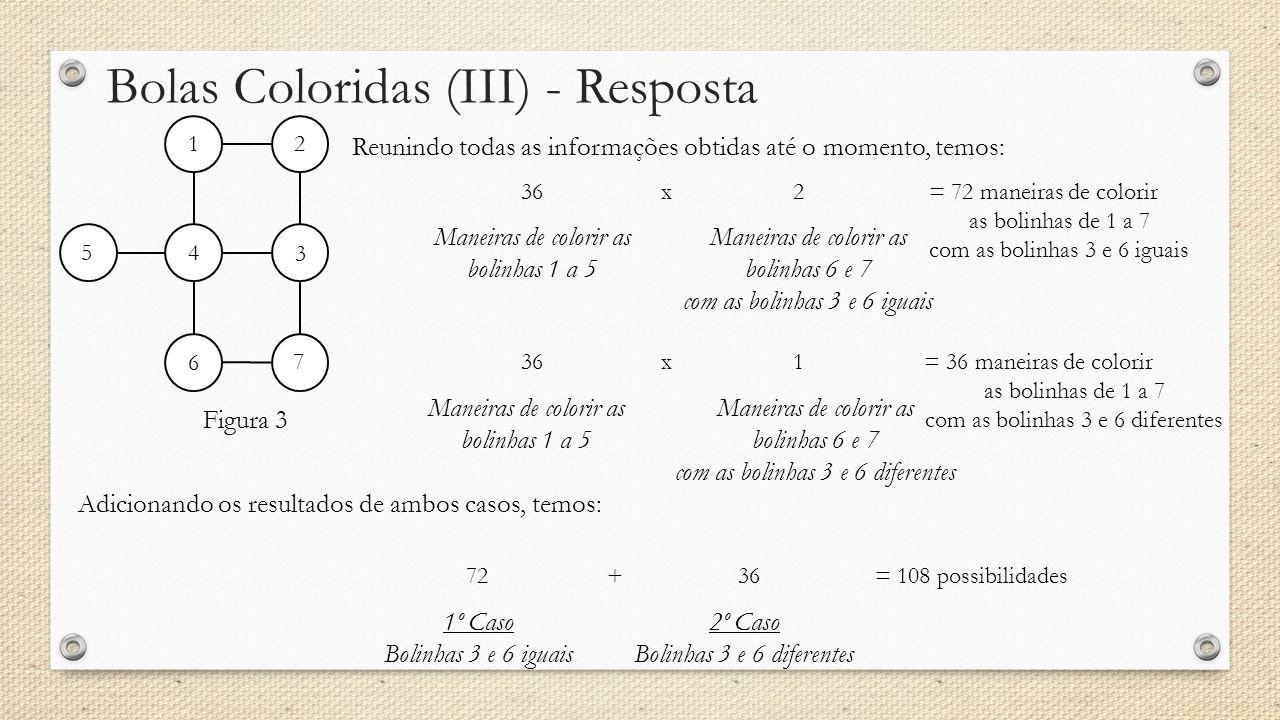 Bolas Coloridas (III) - Resposta Reunindo todas as informações obtidas até o momento, temos: Figura 3 12 3 4 5 6 7 Maneiras de colorir as bolinhas 1 a 5 362x= 72 maneiras de colorir as bolinhas de 1 a 7 com as bolinhas 3 e 6 iguais Maneiras de colorir as bolinhas 6 e 7 com as bolinhas 3 e 6 iguais Maneiras de colorir as bolinhas 1 a 5 361x= 36 maneiras de colorir as bolinhas de 1 a 7 com as bolinhas 3 e 6 diferentes Maneiras de colorir as bolinhas 6 e 7 com as bolinhas 3 e 6 diferentes 1º Caso Bolinhas 3 e 6 iguais 7236+= 108 possibilidades 2º Caso Bolinhas 3 e 6 diferentes Adicionando os resultados de ambos casos, temos: