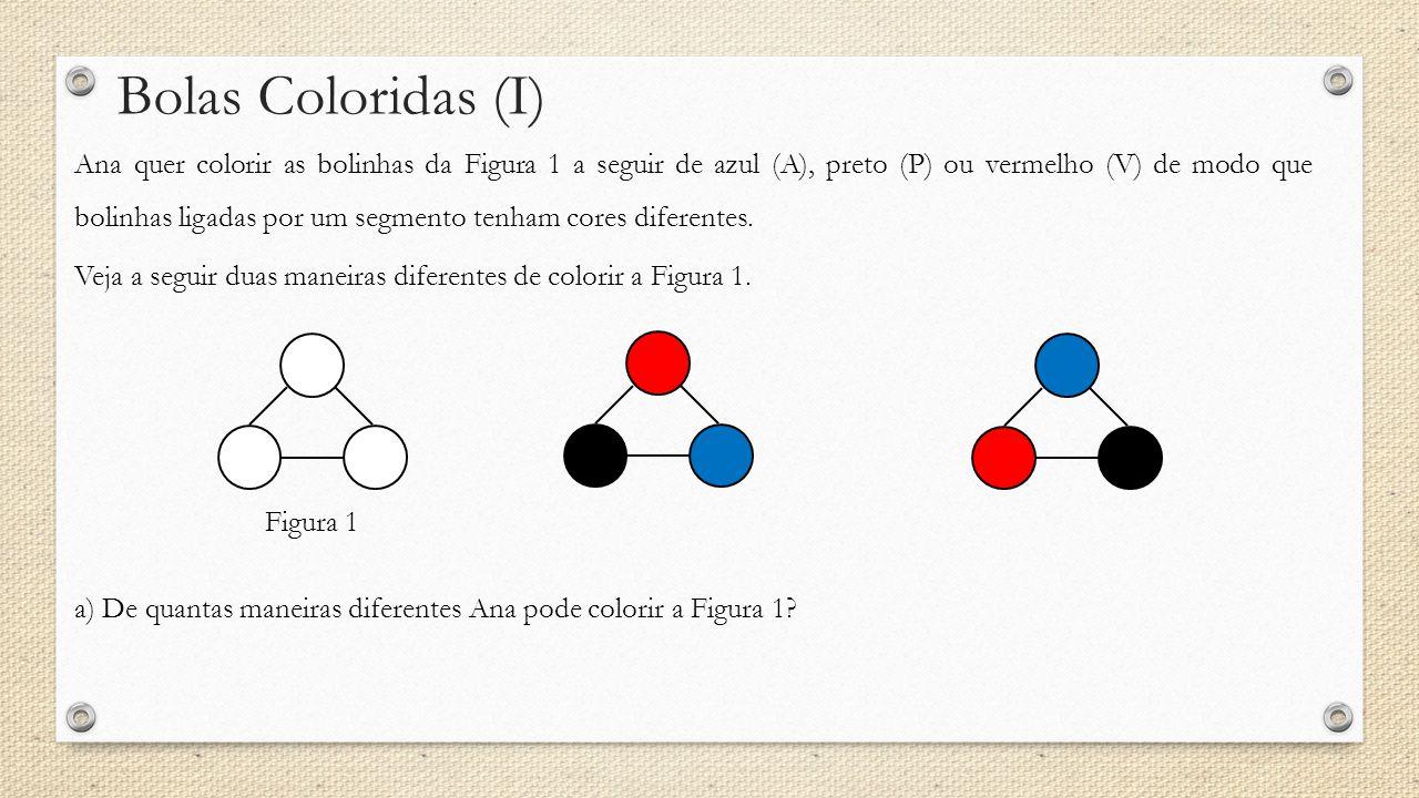 Bolas Coloridas (I) Ana quer colorir as bolinhas da Figura 1 a seguir de azul (A), preto (P) ou vermelho (V) de modo que bolinhas ligadas por um segmento tenham cores diferentes.