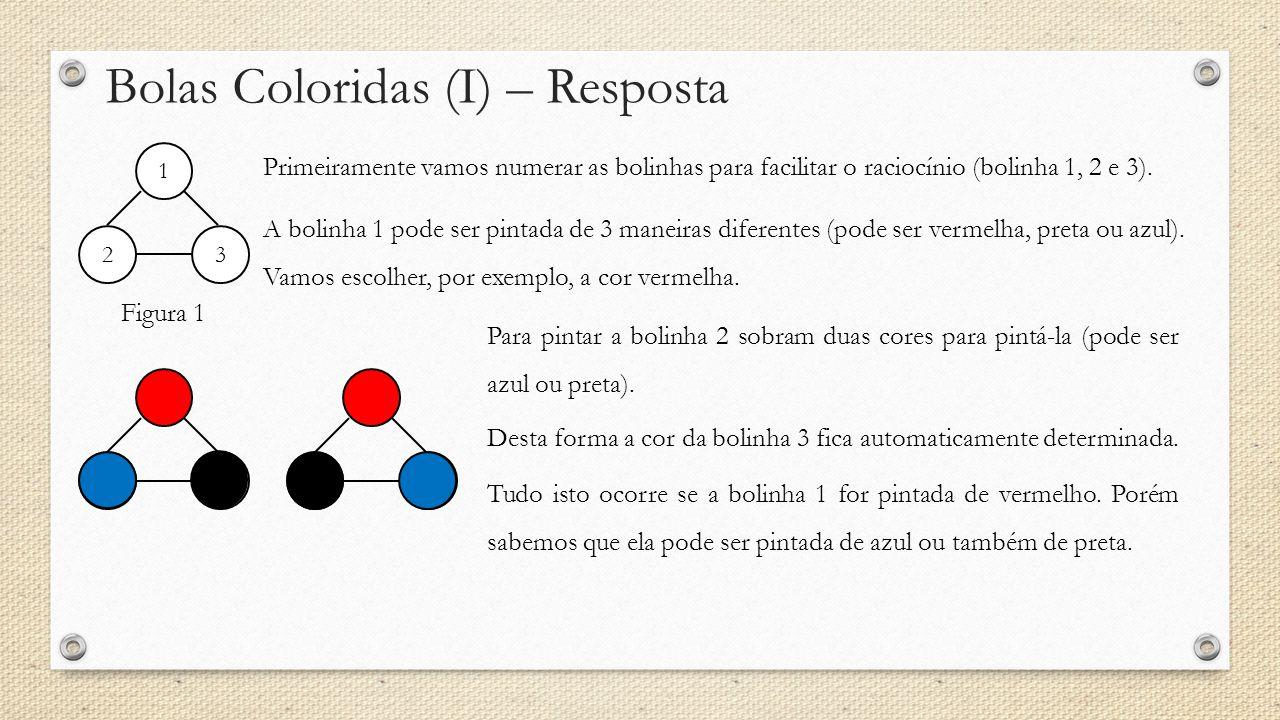 Bolas Coloridas (I) – Resposta Figura 1 1 2 3 Primeiramente vamos numerar as bolinhas para facilitar o raciocínio (bolinha 1, 2 e 3). A bolinha 1 pode