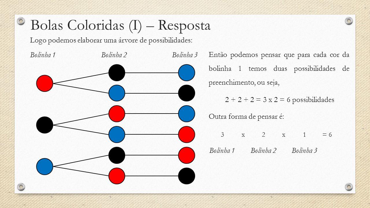 Bolas Coloridas (I) – Resposta Logo podemos elaborar uma árvore de possibilidades: Bolinha 1Bolinha 2Bolinha 3 Então podemos pensar que para cada cor da bolinha 1 temos duas possibilidades de preenchimento, ou seja, 2 + 2 + 2 = 3 x 2 = 6 possibilidades Outra forma de pensar é: Bolinha 1Bolinha 2Bolinha 3 321xx= 6