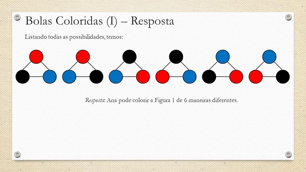 Bolas Coloridas (I) – Resposta Listando todas as possibilidades, temos: Resposta: Ana pode colorir a Figura 1 de 6 maneiras diferentes.