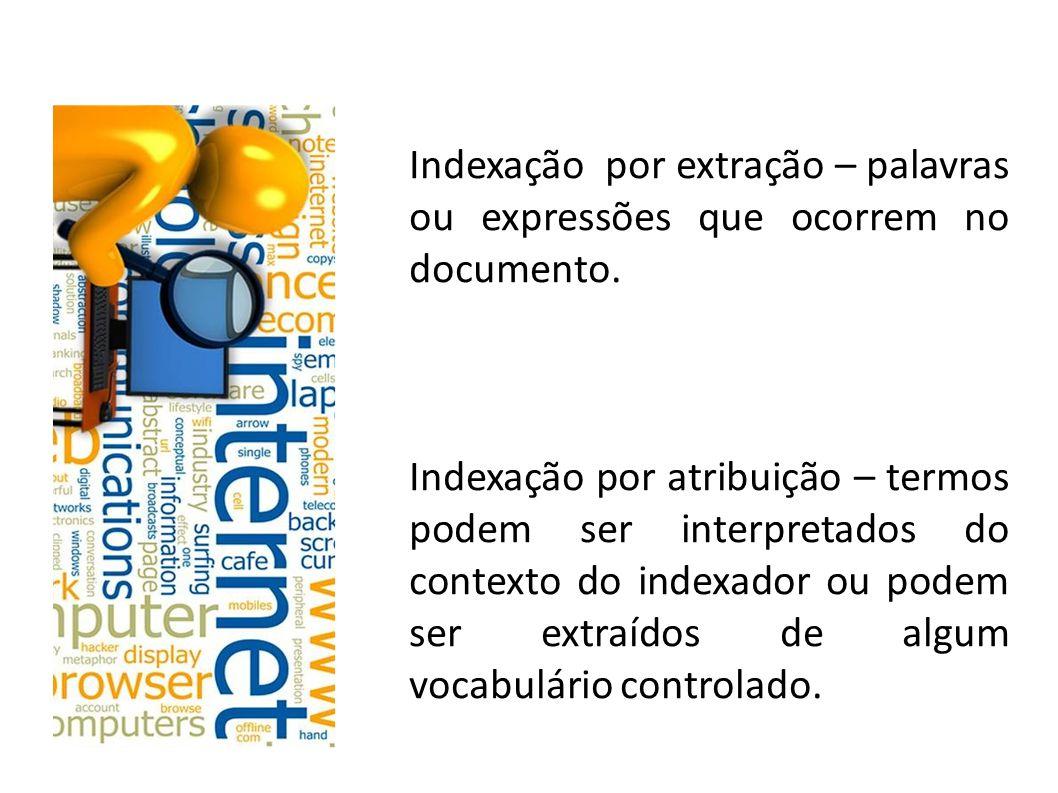 Vocabulários controlados Lista de termos autorizados O indexador atribui termos ao documentos que constem de uma lista adotada pela instituição.