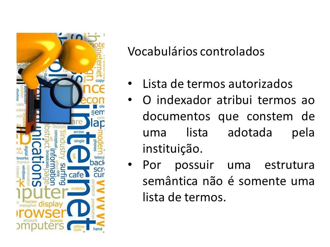 Vocabulários controlados Estrutura semântica dos vocabulários controlados: Controla sinônimos – padronização Diferencia homógrafos Relações hierárquicas de termos