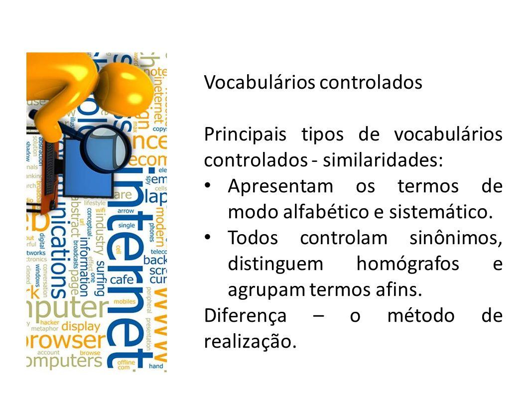 Vocabulários controlados Qual a diferença entre indexação de assuntos e catalogação de assuntos?