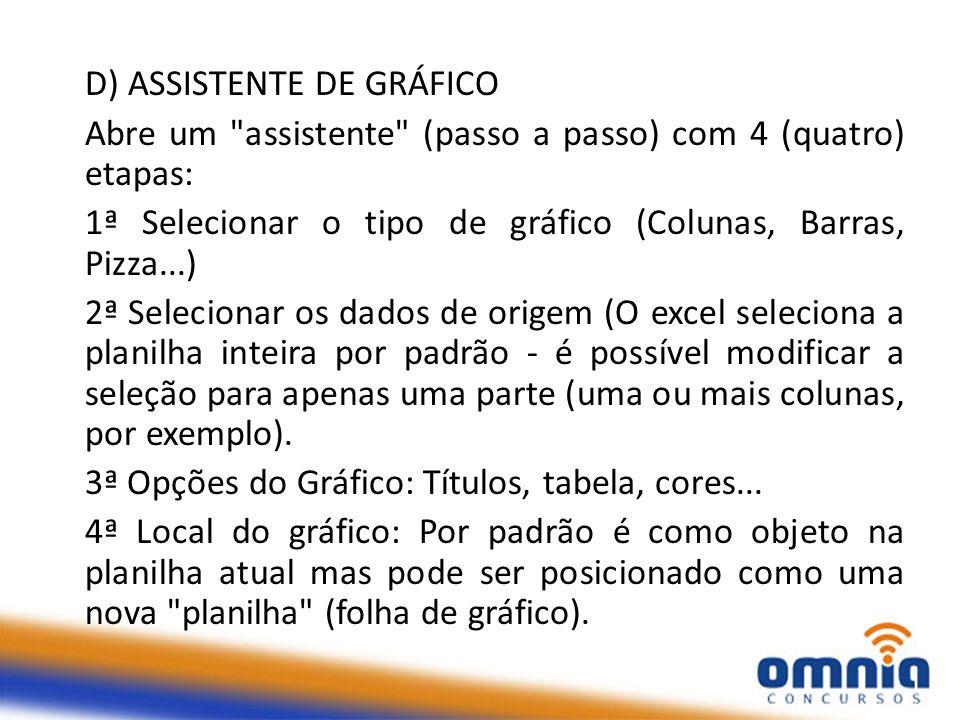 D) ASSISTENTE DE GRÁFICO Abre um