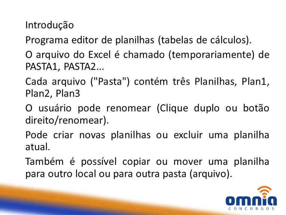 Introdução Programa editor de planilhas (tabelas de cálculos). O arquivo do Excel é chamado (temporariamente) de PASTA1, PASTA2... Cada arquivo (