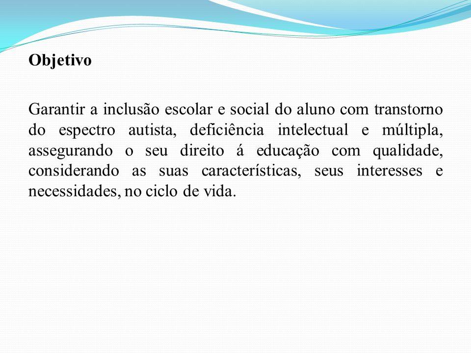 Objetivo Garantir a inclusão escolar e social do aluno com transtorno do espectro autista, deficiência intelectual e múltipla, assegurando o seu direi