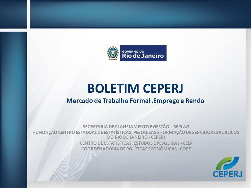 BOLETIM CEPERJ Mercado de Trabalho Formal,Emprego e Renda SECRETARIA DE PLANEJAMENTO E GESTÃO - SEPLAG FUNDAÇÃO CENTRO ESTADUAL DE ESTATÍSTICAS, PESQU