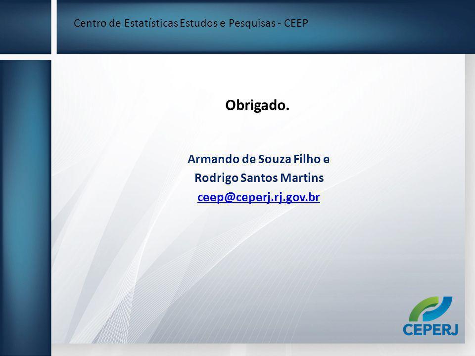 Obrigado. Armando de Souza Filho e Rodrigo Santos Martins ceep@ceperj.rj.gov.br Centro de Estatísticas Estudos e Pesquisas - CEEP