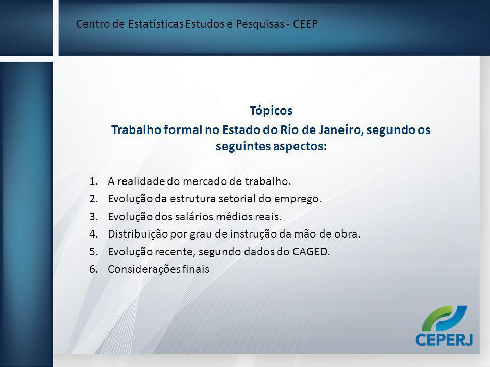 Tópicos Trabalho formal no Estado do Rio de Janeiro, segundo os seguintes aspectos: 1.A realidade do mercado de trabalho. 2.Evolução da estrutura seto