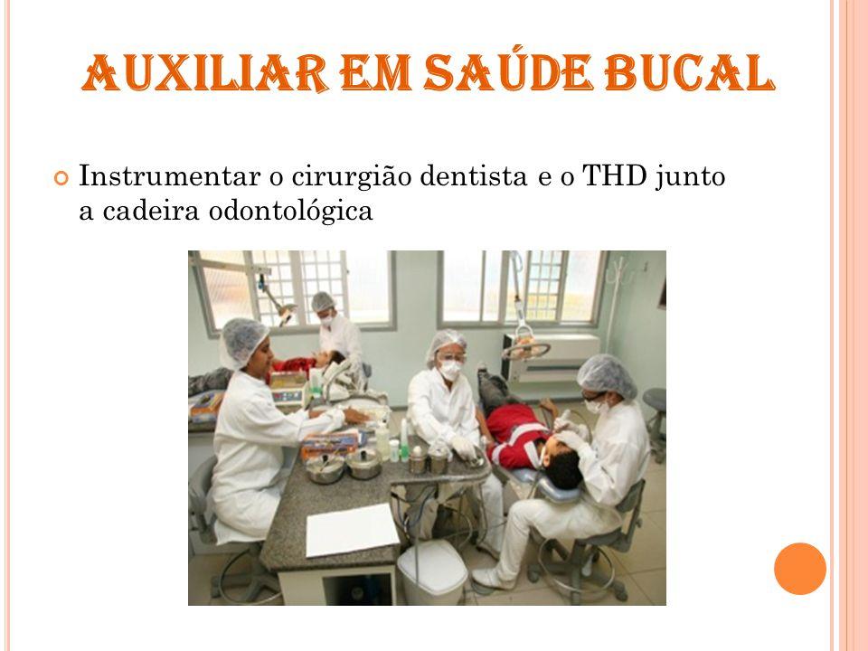 AUXILIAR EM SAÚDE BUCAL Instrumentar o cirurgião dentista e o THD junto a cadeira odontológica