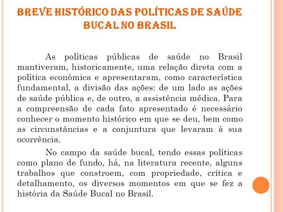 BREVE HISTÓRICO DAS POLÍTICAS DE SAÚDE BUCAL NO BRASIL As políticas públicas de saúde no Brasil mantiveram, historicamente, uma relação direta com a p