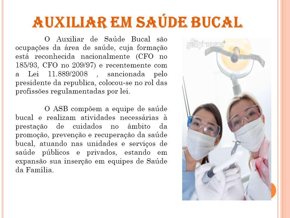 O Auxiliar de Saúde Bucal são ocupações da área de saúde, cuja formação está reconhecida nacionalmente (CFO no 185/93, CFO no 209/97) e recentemente c