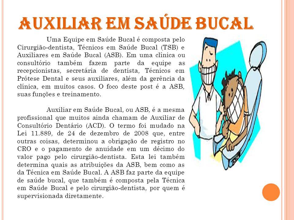 Uma Equipe em Saúde Bucal é composta pelo Cirurgião-dentista, Técnicos em Saúde Bucal (TSB) e Auxiliares em Saúde Bucal (ASB).