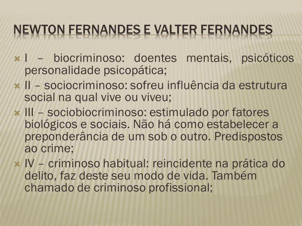  I – biocriminoso: doentes mentais, psicóticos personalidade psicopática;  II – sociocriminoso: sofreu influência da estrutura social na qual vive o
