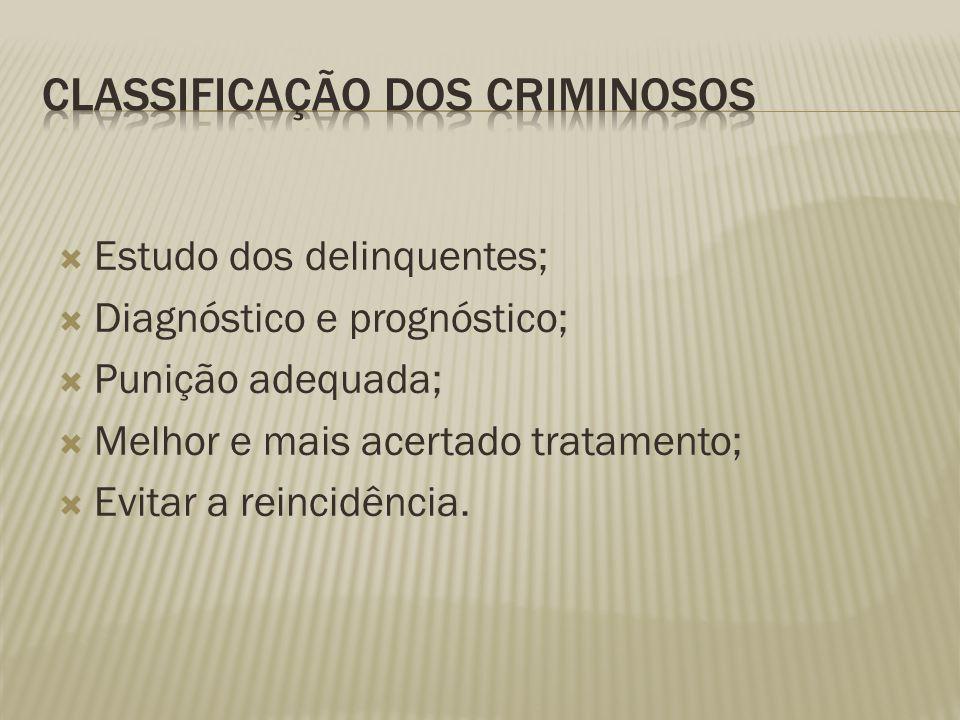  Estudo dos delinquentes;  Diagnóstico e prognóstico;  Punição adequada;  Melhor e mais acertado tratamento;  Evitar a reincidência.