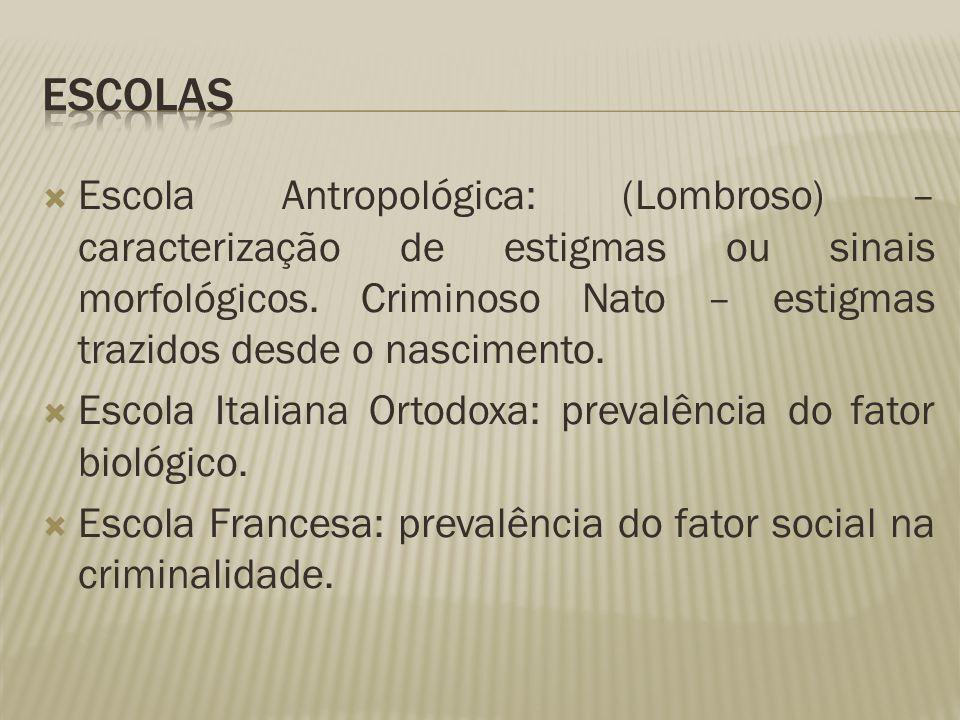 Escola Antropológica: (Lombroso) – caracterização de estigmas ou sinais morfológicos. Criminoso Nato – estigmas trazidos desde o nascimento.  Escol
