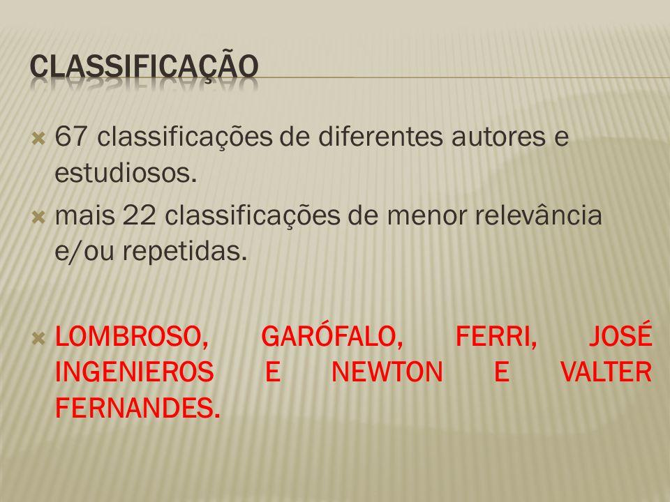  67 classificações de diferentes autores e estudiosos.  mais 22 classificações de menor relevância e/ou repetidas.  LOMBROSO, GARÓFALO, FERRI, JOSÉ