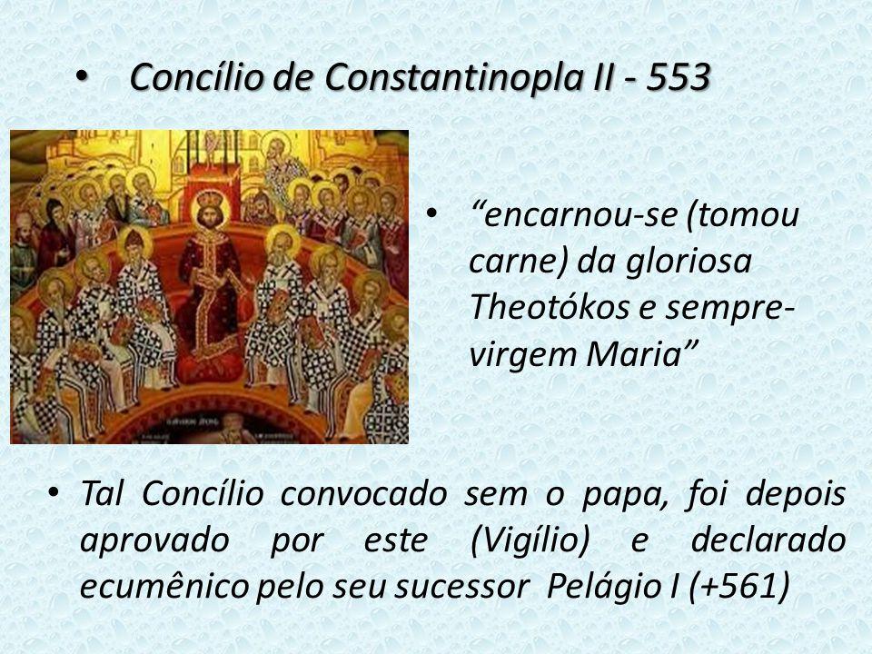 Tal Concílio convocado sem o papa, foi depois aprovado por este (Vigílio) e declarado ecumênico pelo seu sucessor Pelágio I (+561) Concílio de Constantinopla II - 553 Concílio de Constantinopla II - 553 encarnou-se (tomou carne) da gloriosa Theotókos e sempre- virgem Maria