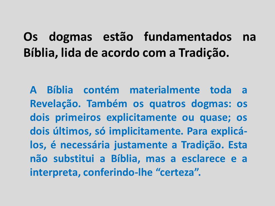 Os dogmas estão fundamentados na Bíblia, lida de acordo com a Tradição. A Bíblia contém materialmente toda a Revelação. Também os quatros dogmas: os d