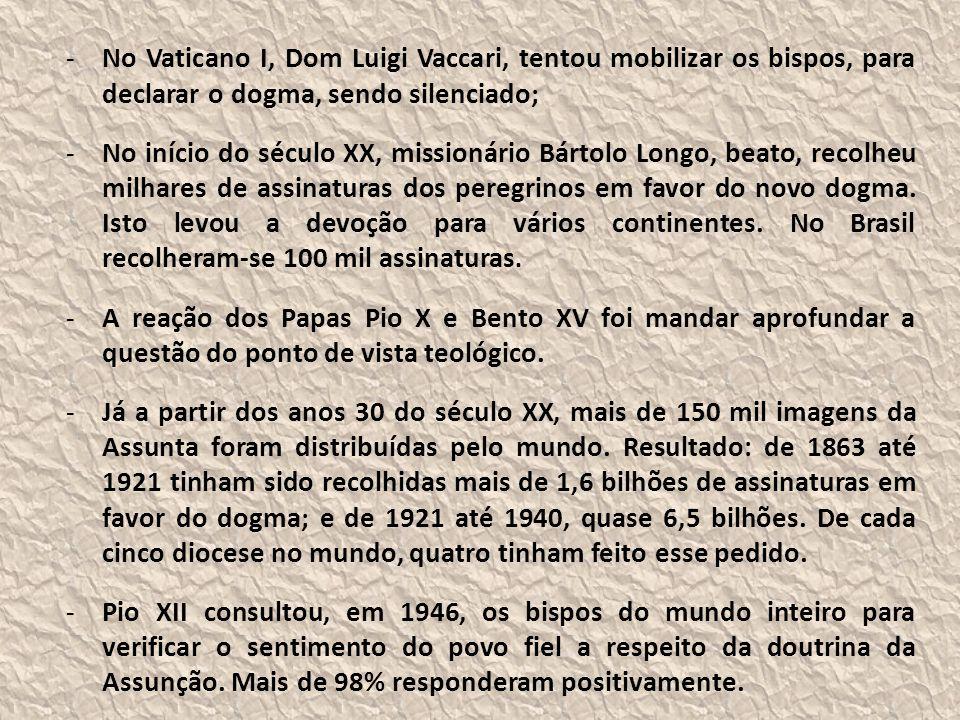-No Vaticano I, Dom Luigi Vaccari, tentou mobilizar os bispos, para declarar o dogma, sendo silenciado; -No início do século XX, missionário Bártolo Longo, beato, recolheu milhares de assinaturas dos peregrinos em favor do novo dogma.