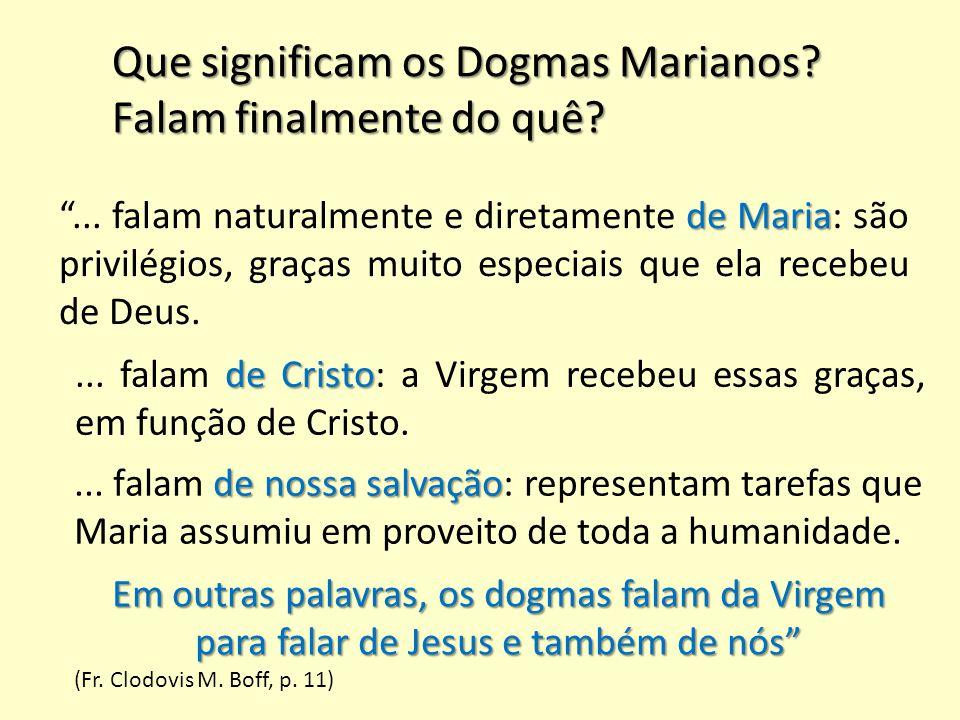"""Que significam os Dogmas Marianos? Falam finalmente do quê? de Maria """"... falam naturalmente e diretamente de Maria: são privilégios, graças muito esp"""