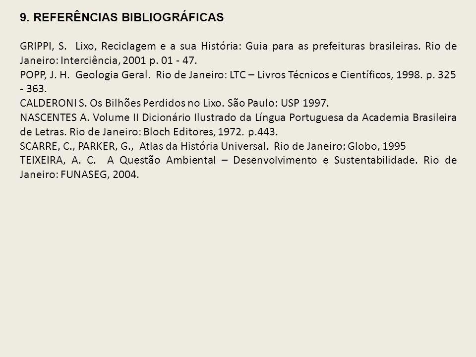9. REFERÊNCIAS BIBLIOGRÁFICAS GRIPPI, S. Lixo, Reciclagem e a sua História: Guia para as prefeituras brasileiras. Rio de Janeiro: Interciência, 2001 p