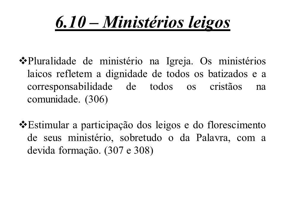  Pluralidade de ministério na Igreja. Os ministérios laicos refletem a dignidade de todos os batizados e a corresponsabilidade de todos os cristãos n