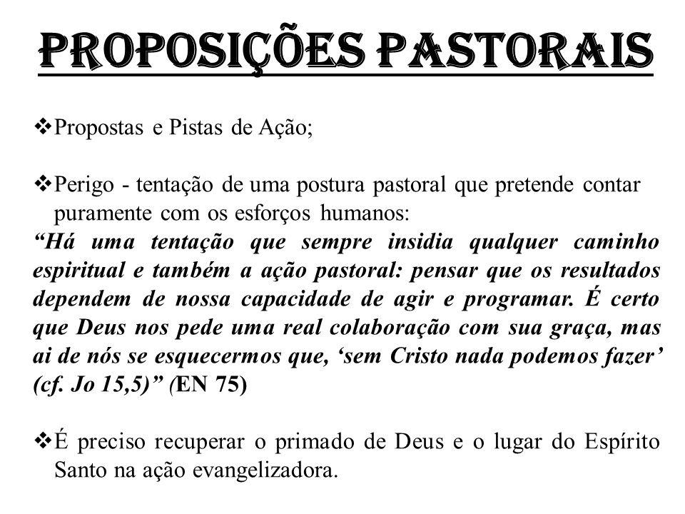 PROPOSIÇÕES PASTORAIS  Propostas e Pistas de Ação;  Perigo - tentação de uma postura pastoral que pretende contar puramente com os esforços humanos: