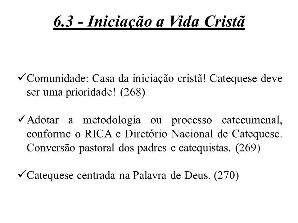 Comunidade: Casa da iniciação cristã! Catequese deve ser uma prioridade! (268) Adotar a metodologia ou processo catecumenal, conforme o RICA e Diretór