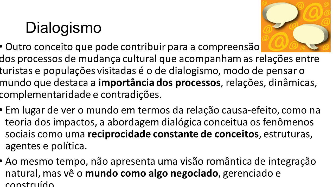 Dialogismo Outro conceito que pode contribuir para a compreensão dos processos de mudança cultural que acompanham as relações entre turistas e populaç
