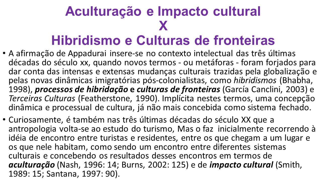 Aculturação e Impacto cultural X Hibridismo e Culturas de fronteiras A afirmação de Appadurai insere-se no contexto intelectual das três últimas décad