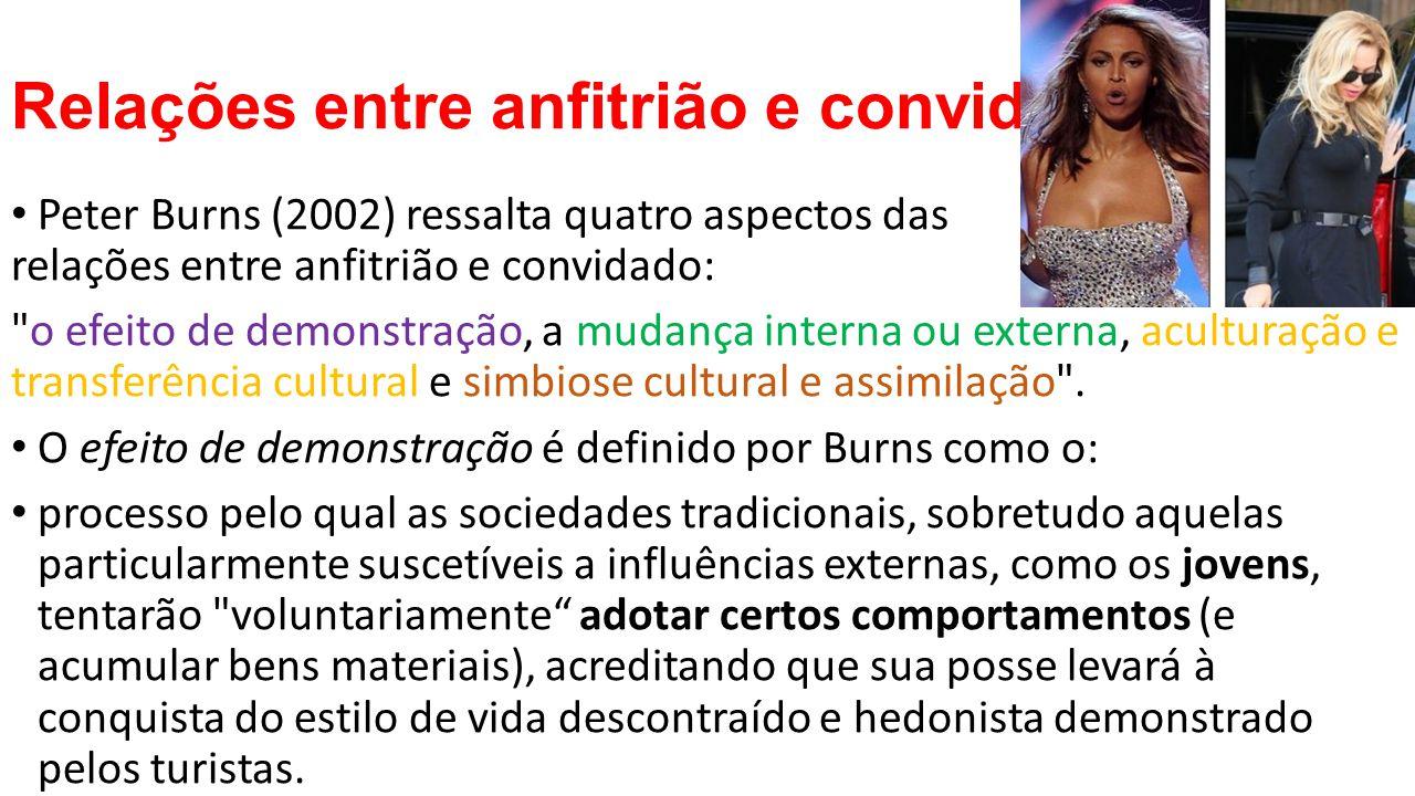 Já a aculturação para o autor é o processo pelo qual o empréstimo de um ou de alguns elementos da cultura ocorre como resultado de um contato de qualquer duração entre duas sociedades diferentes (Burns, 2002: 128).