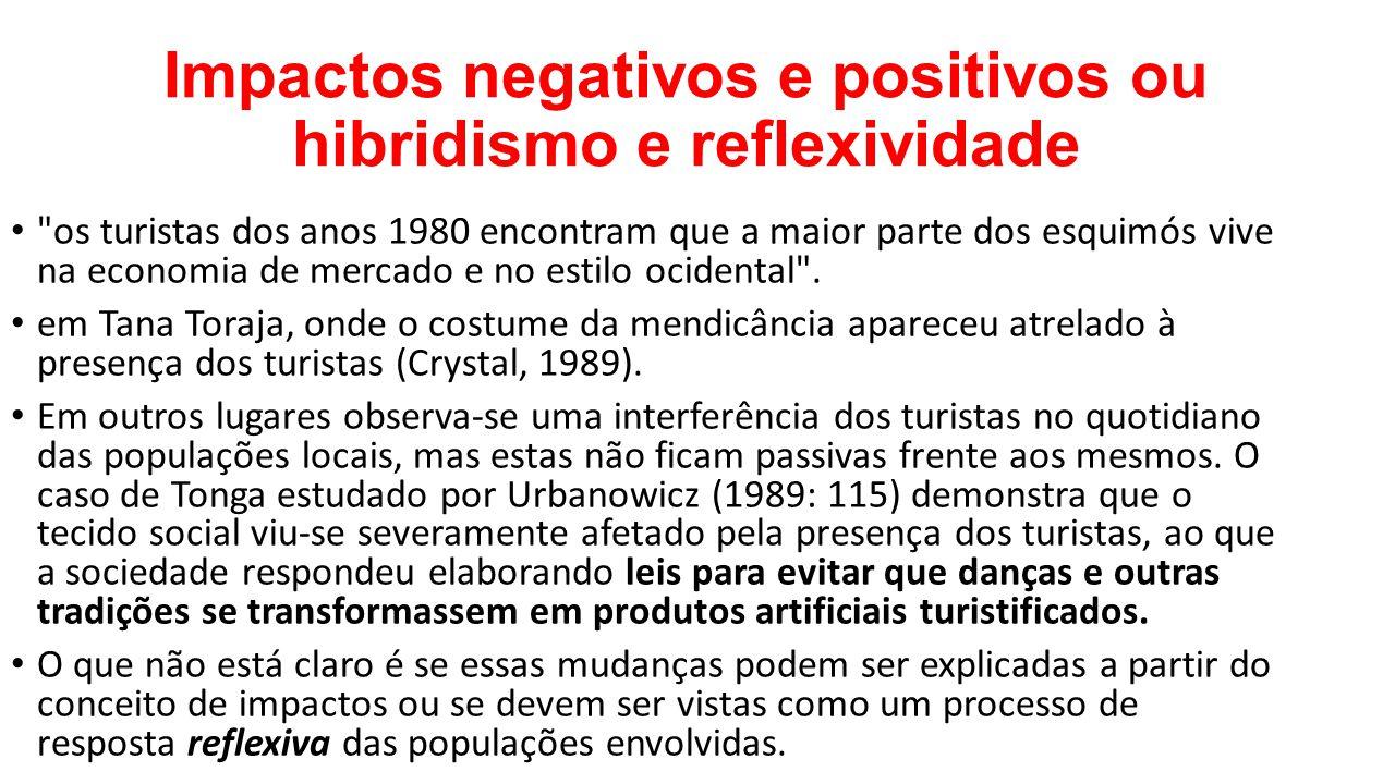 Impactos negativos e positivos ou hibridismo e reflexividade