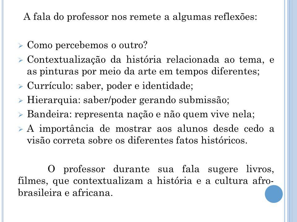 A fala do professor nos remete a algumas reflexões:  Como percebemos o outro?  Contextualização da história relacionada ao tema, e as pinturas por m