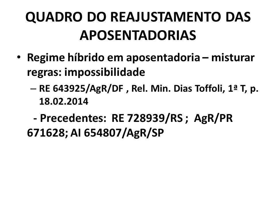 QUADRO DO REAJUSTAMENTO DAS APOSENTADORIAS Regime híbrido em aposentadoria – misturar regras: impossibilidade – RE 643925/AgR/DF, Rel.